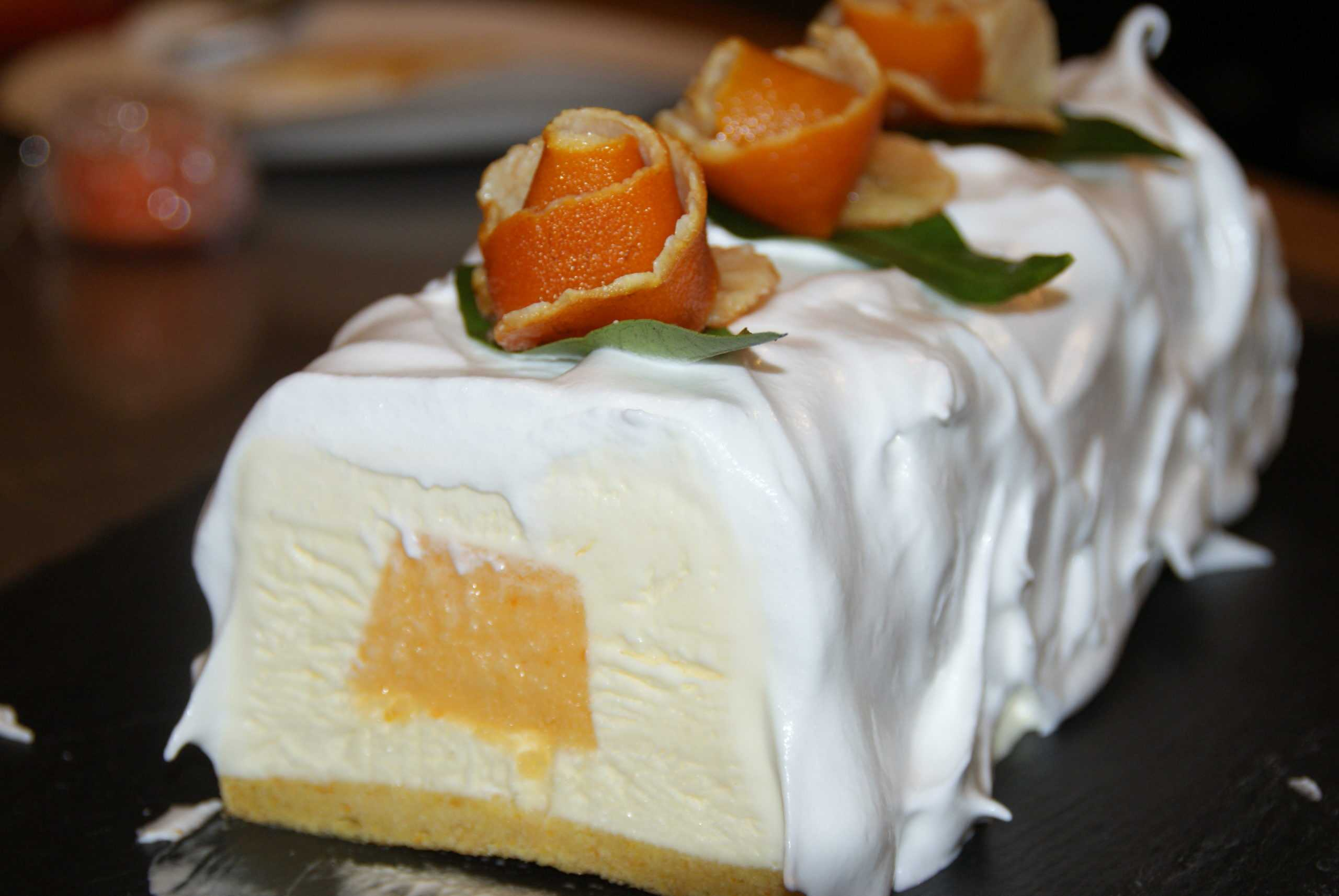 Bûche glacée Mascarpone coeur Mandarine
