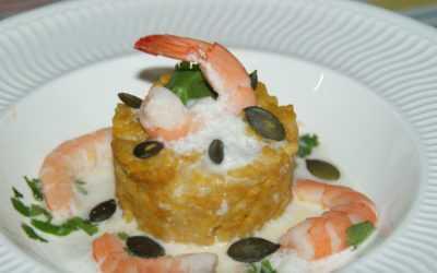 Rizotto de Potiron, crevettes sautées à la coriandre, écume coco