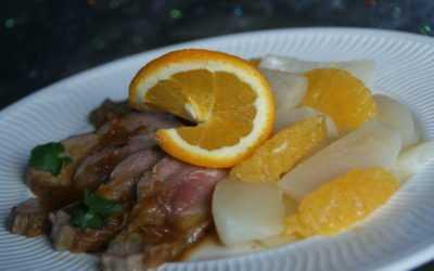 Canard à l'orange et ses navets glacés