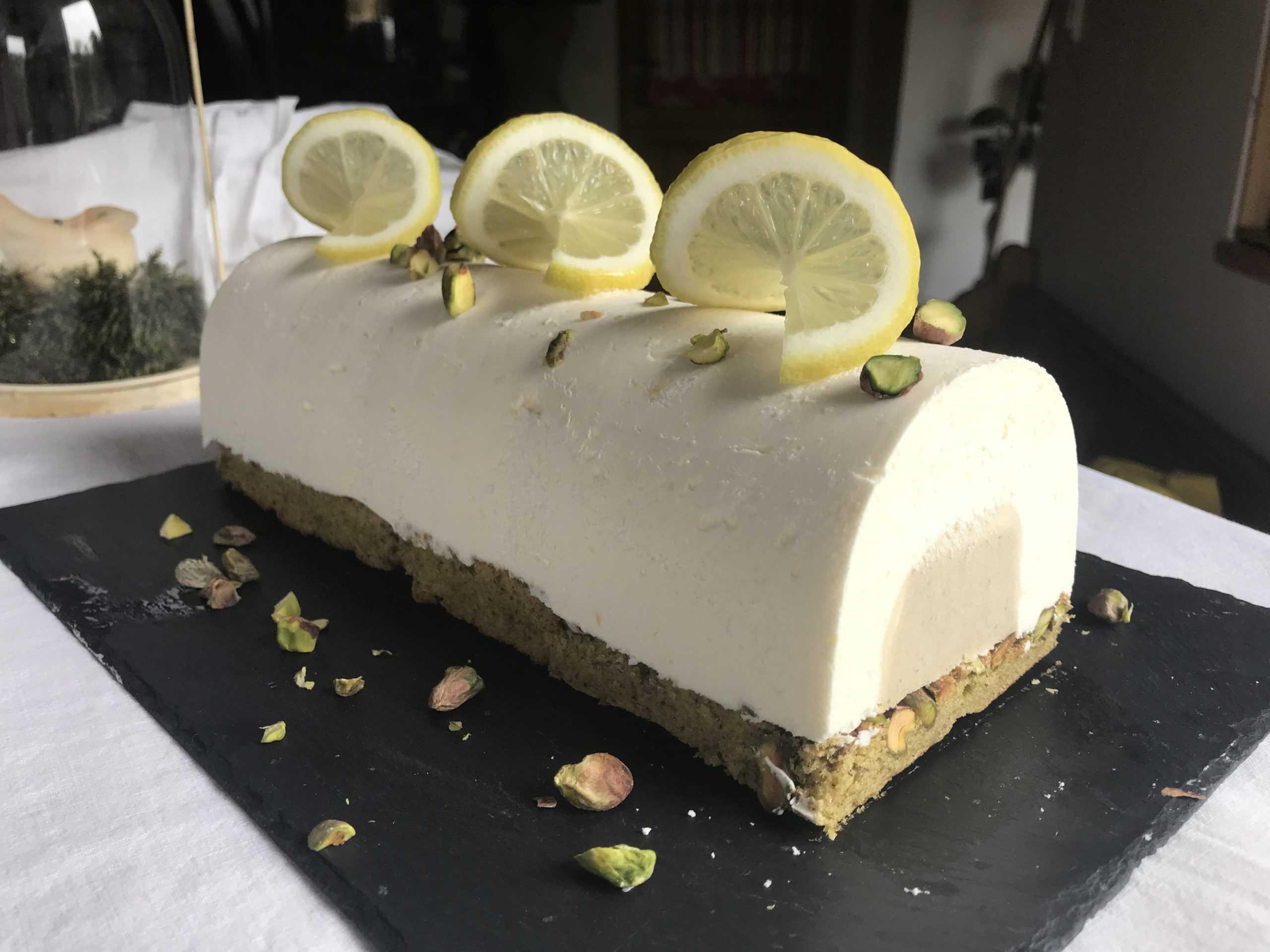 Bûche entremet citron et pistache (10 parts)